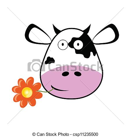 450x470 Cow Head With A Flower Vector Illustration Vector Clipart