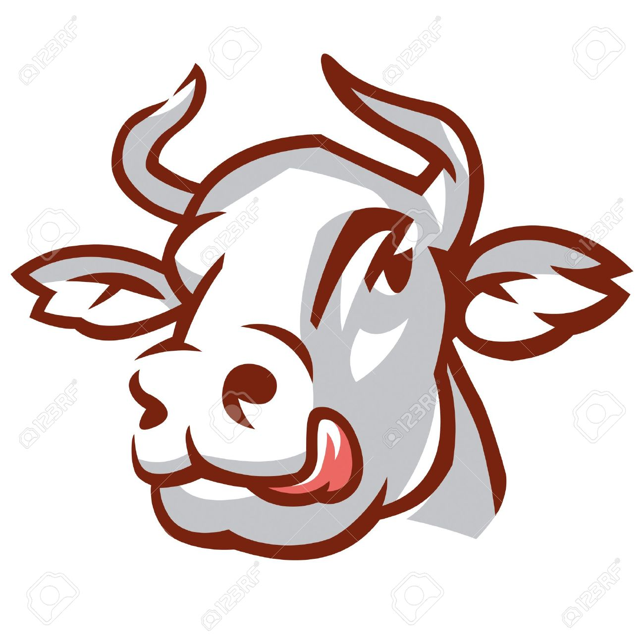 1300x1300 Head Of Licking Cow. Stylized Drawing. Royalty Free Cliparts