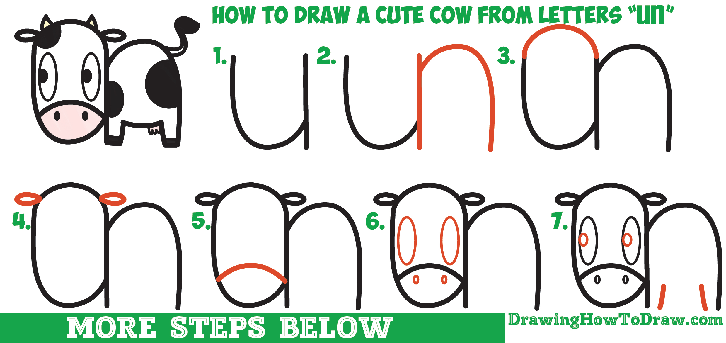 2478x1170 Outstanding Easy Cow Drawing How To Draw A Cute Cartoon Kawaii