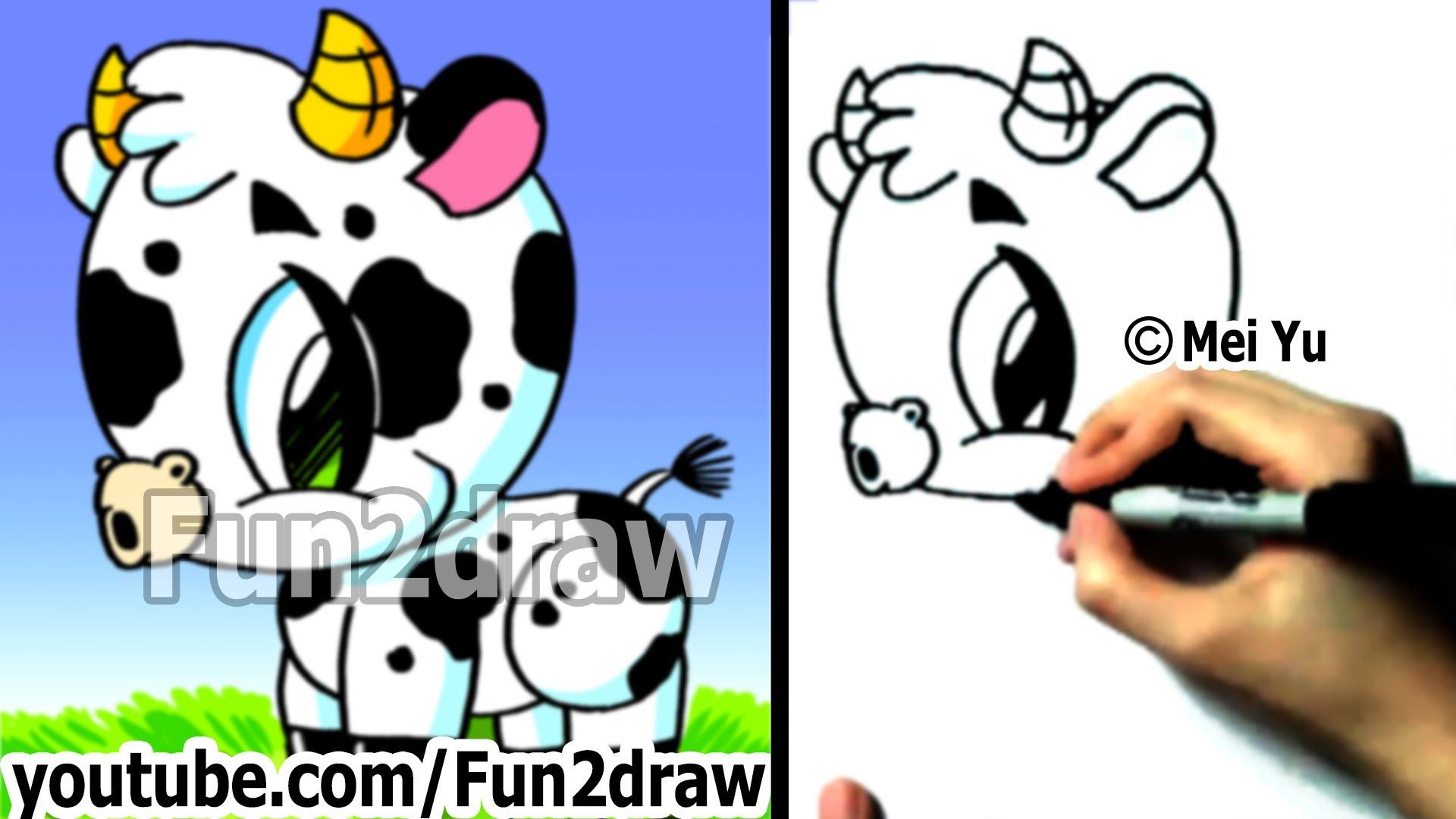 1920x1080 Cartoon Cow To Draw