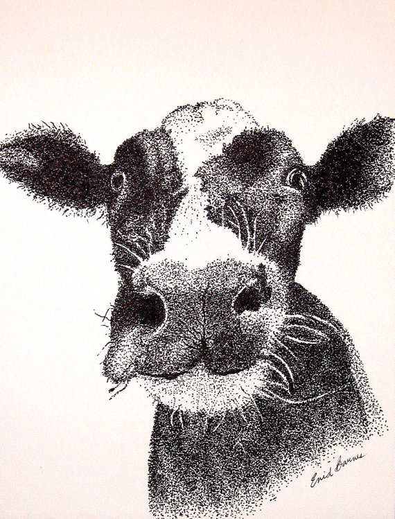 570x749 Items Similar To Cow Original Pen And Ink Pointillism Drawing On Etsy