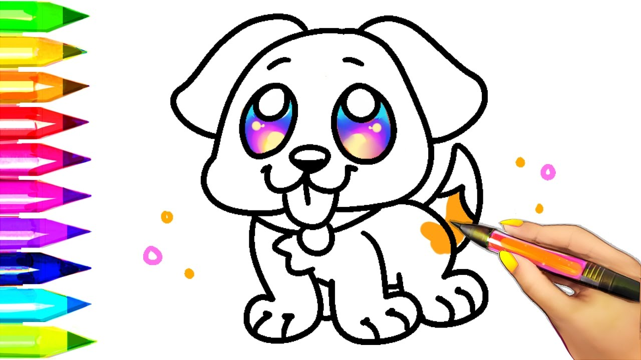 1280x720 Coloring Book Easy Dog Pages For Kids Learning Colors With Puppy