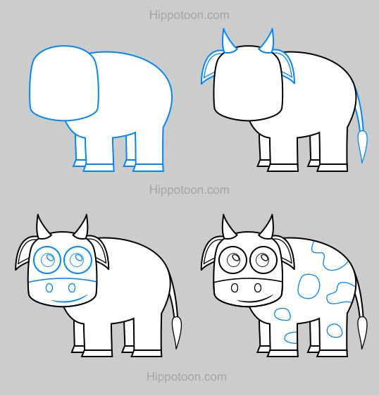 538x562 Simple Drawing Lesson On How To Draw A Cow. Tilivs Love Of Art