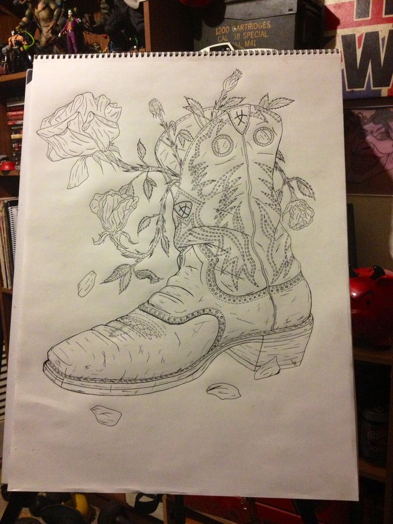 774x1032 Cowboy Boot Line Drawing By Lucious666