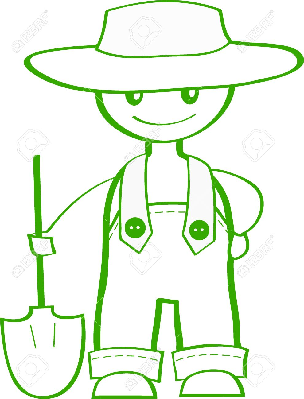 990x1300 A Cartoon Drawing Of A Confident Farmer With A Spade Royalty Free