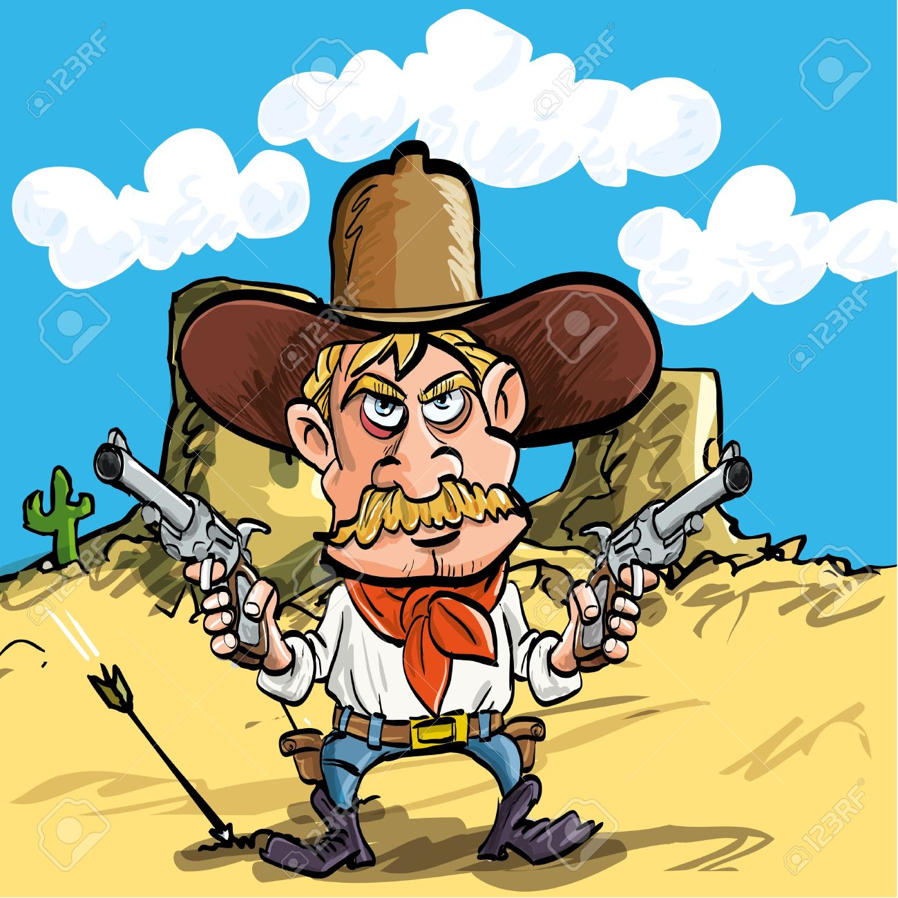1300x1300 Cartoon Cowboy Drawing His Guns In The Desert Royalty Free