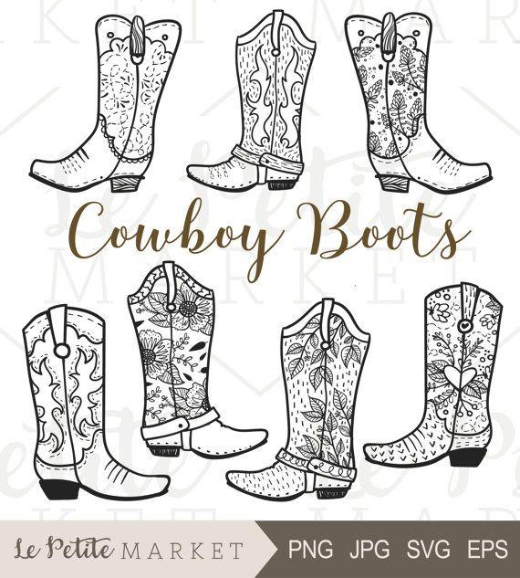 570x633 Cowboy Boot Clip Art, Hand Drawn Cowboy Boots, Cowgirl Boots