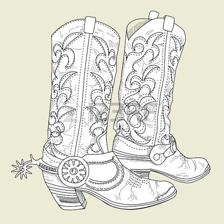 450x450 Hand Drawn Sketch Of A Cowboy Boots Royalty Free Cliparts, Vectors