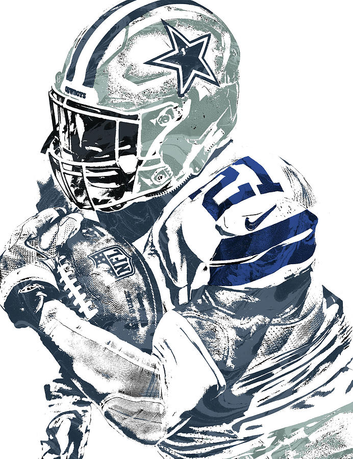 692x900 Ezekiel Elliott Dallas Cowboys Pixel Art 5 Mixed Media By Joe Hamilton