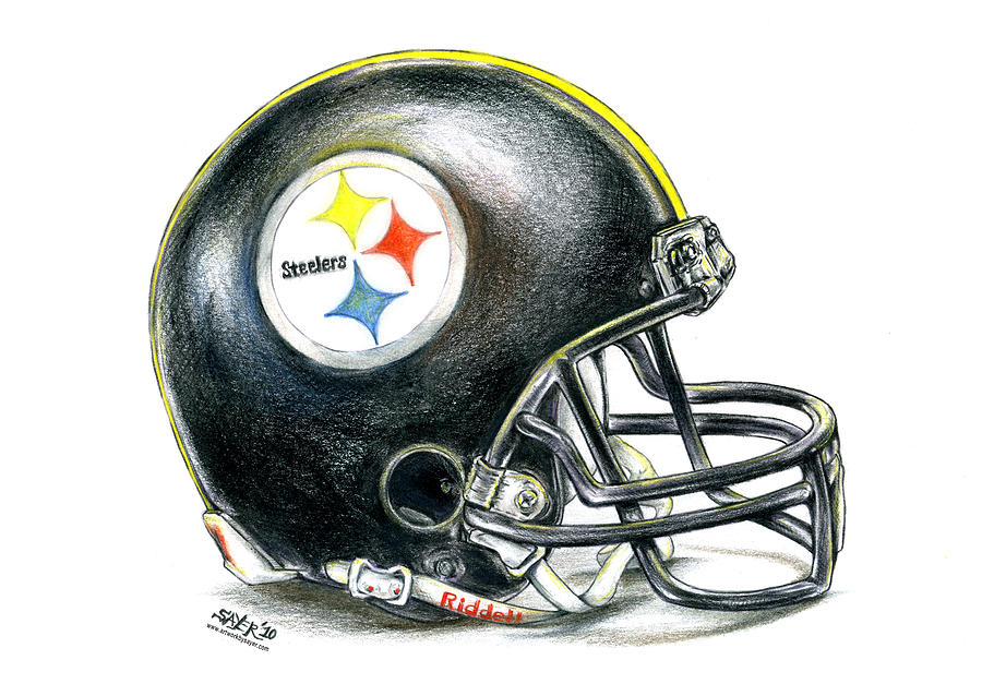 900x638 Pittsburgh Steelers Helmet Drawing By James Sayer