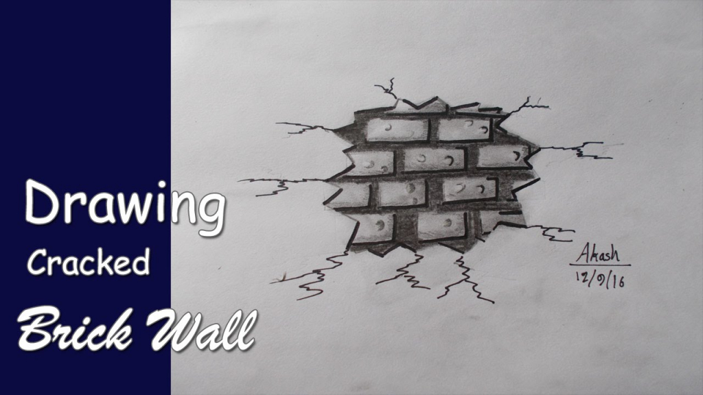 1024x576 Drawing With Pencil Wall Trick Art, Drawing A Cracked Brick Wall