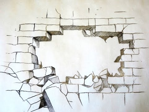 480x360 How To Draw A Broken Brick Wall (The Original)