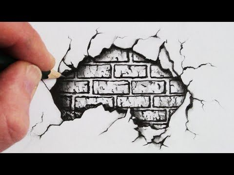 480x360 How To Draw A Cracked Brick Wall Pencil Drawing