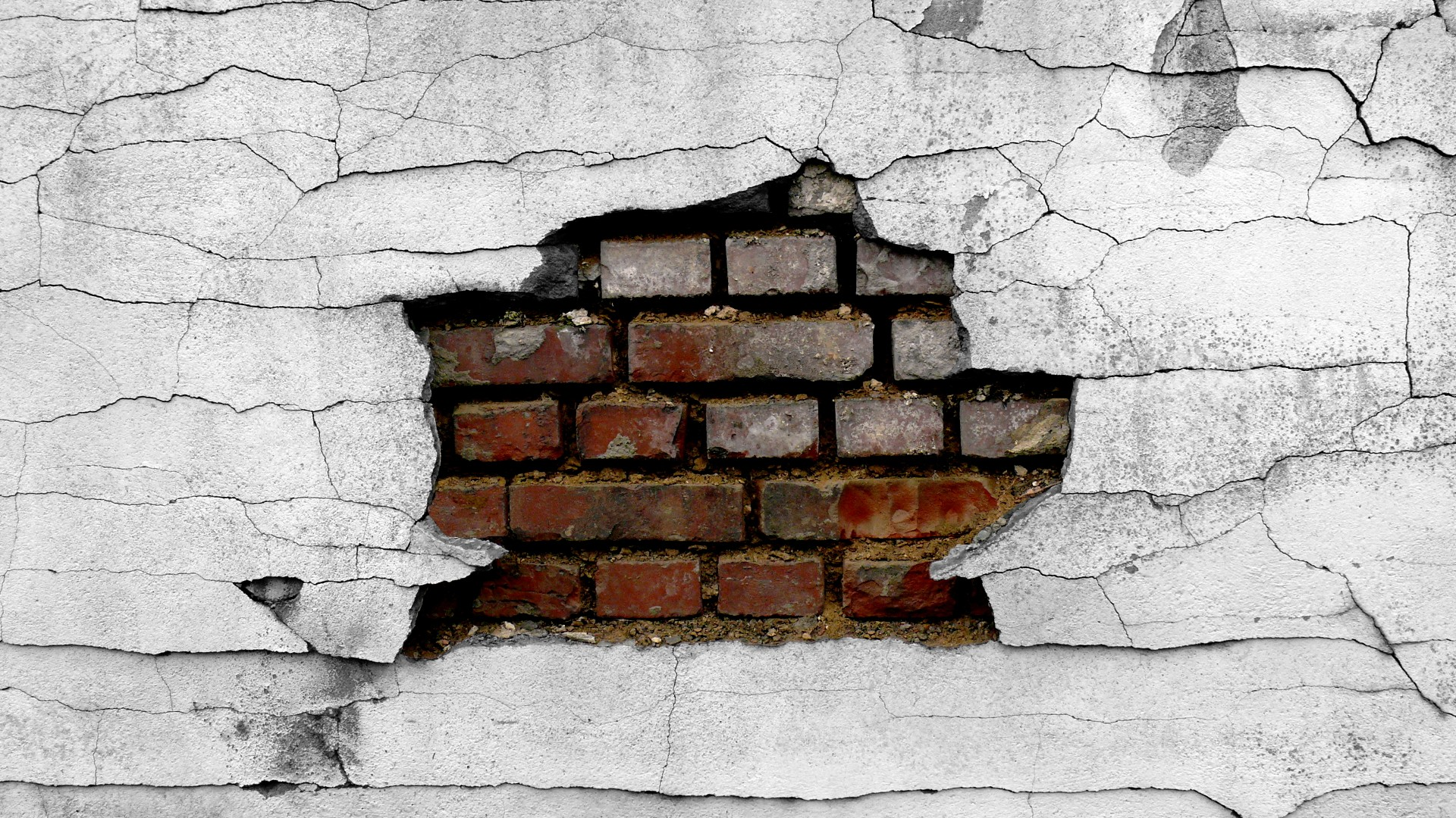 1920x1080 Wall Cracked Broken Brick Wall Wallpaper 1920x1080 48640