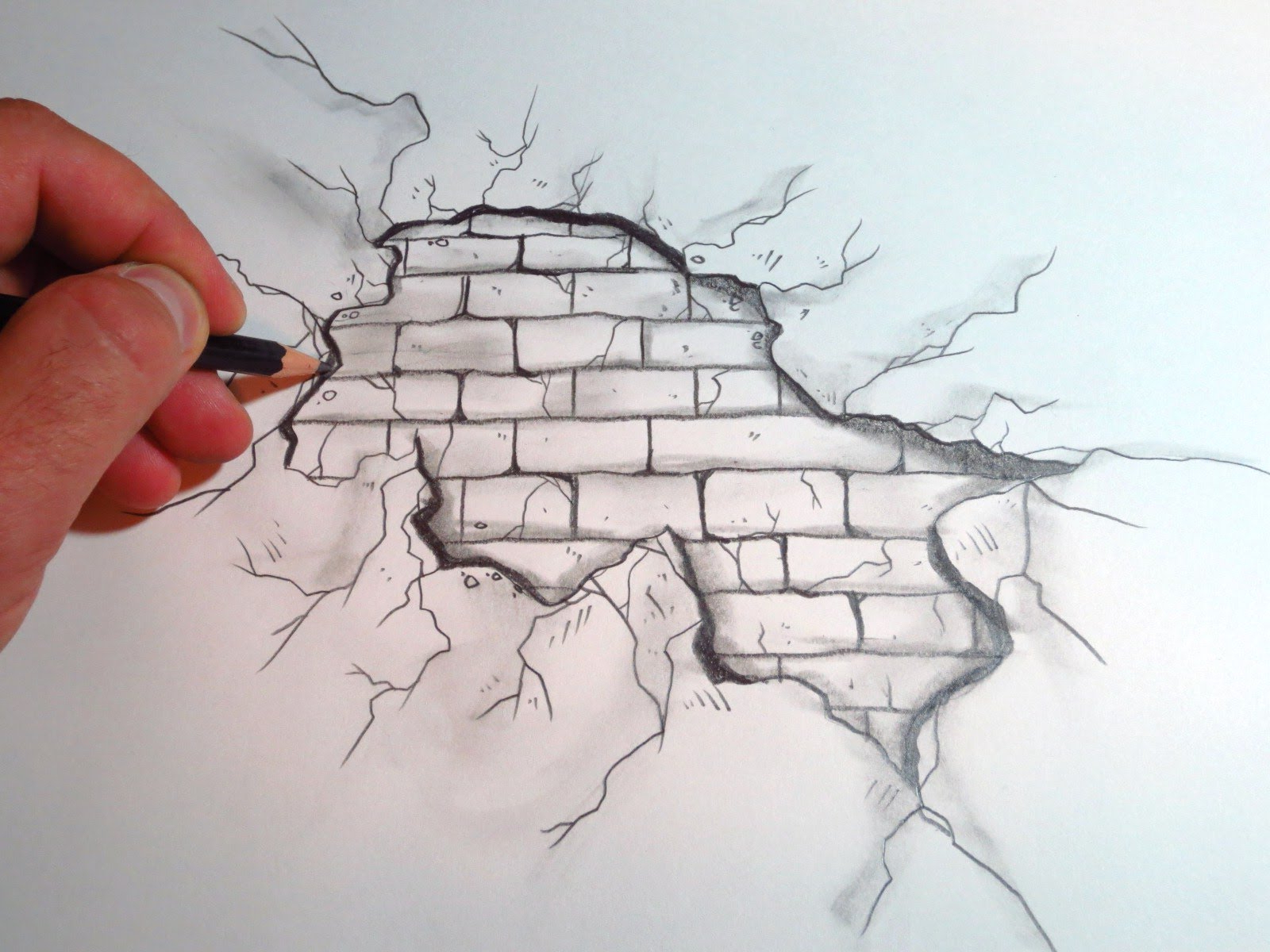 1600x1200 3d Sketch Of Brick Wall How To Draw A Cracked Brick Wall (The