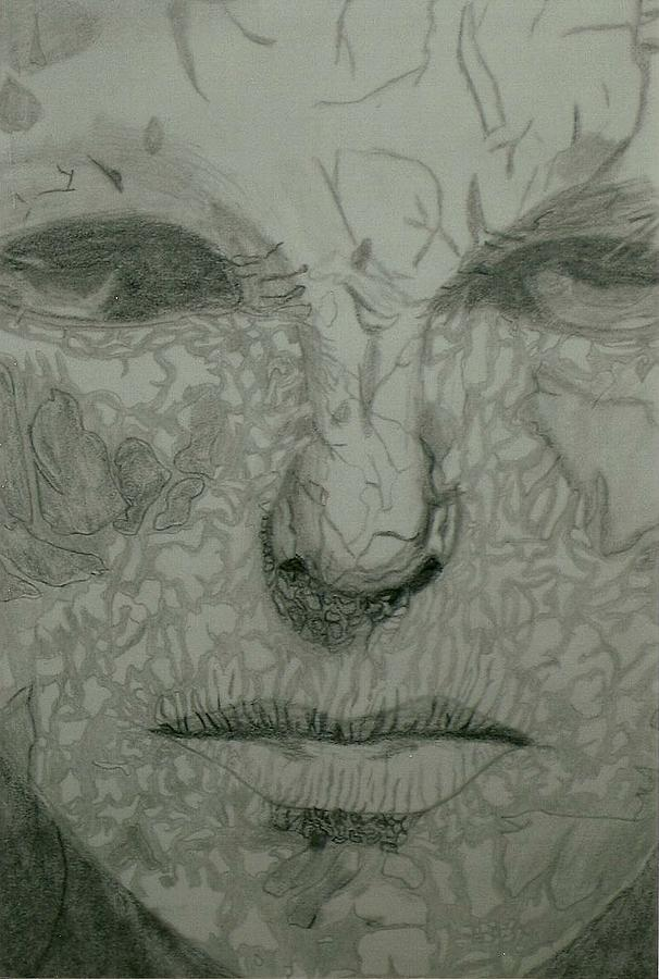 606x900 Cracked Face Drawing By Iris Schechter
