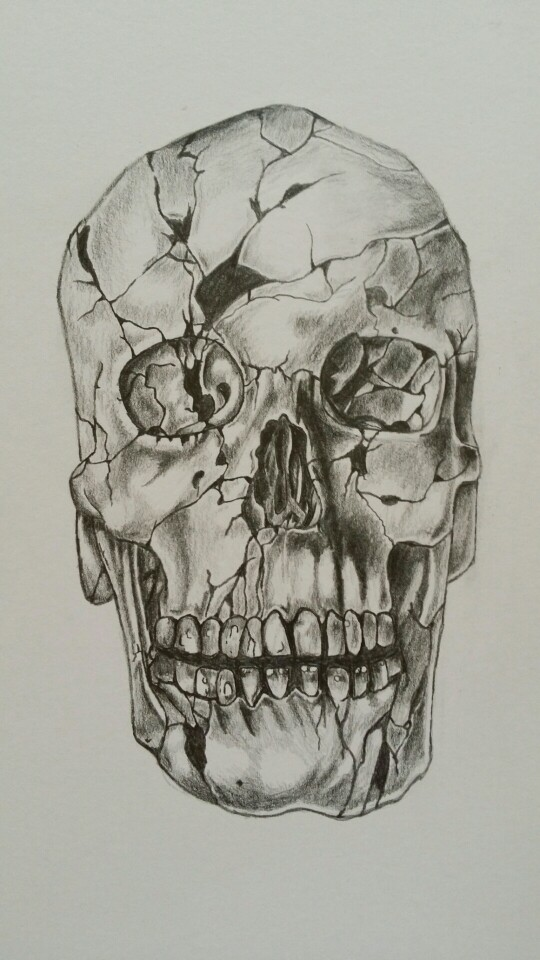 540x960 Cracked Skull Drawing, Pencil Art In General Skull