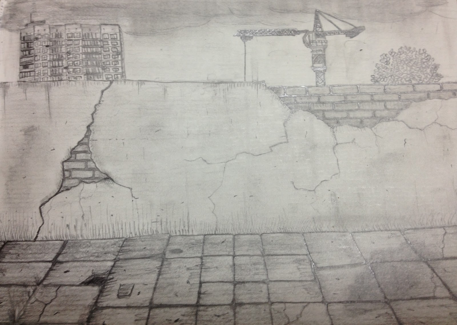 1600x1137 Drawing Of A Wall Drawing A Cracked Brick Wall, Time Lapse