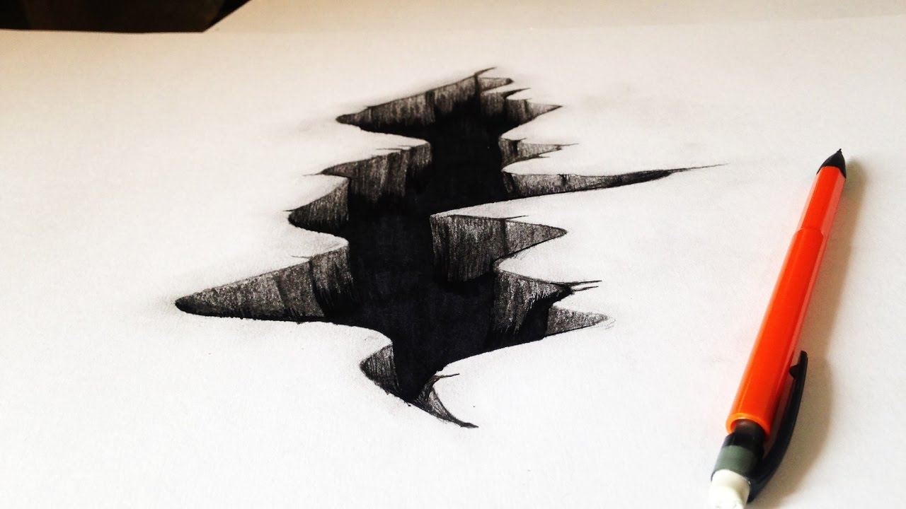 1280x720 Drawing A 3d Crack