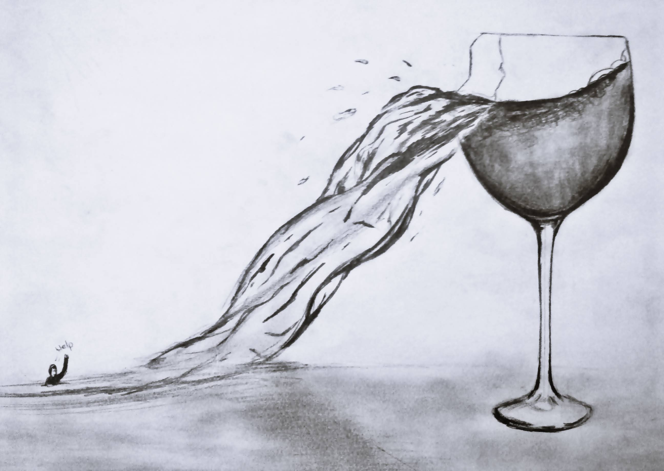 2592x1841 Wine In The Cracked Glass Drawing By Me Bardaktaki