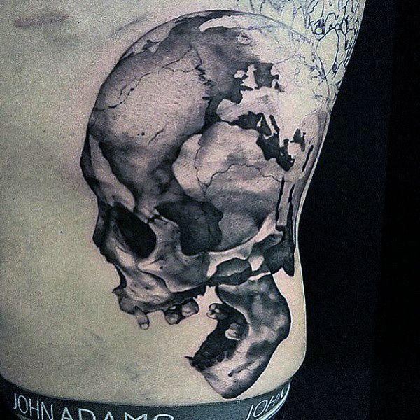 600x600 Cool Cracked Skull Tattoo Mens Torso Tattoo