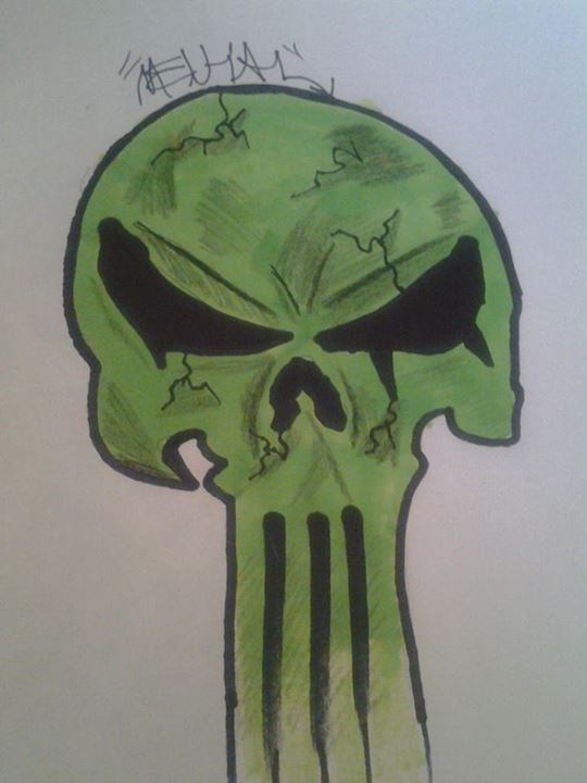 540x720 Green Cracked Punisher Skull Drawing. By Cmathis92