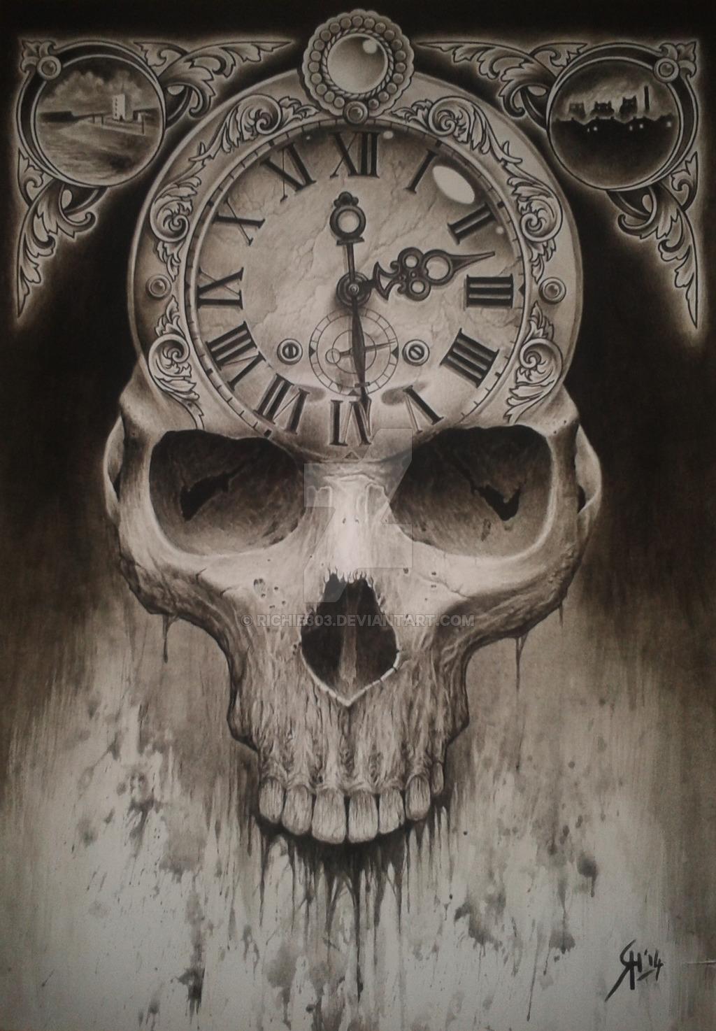 1024x1474 Skull clock tattoodesing Tattoo Draw Clocks