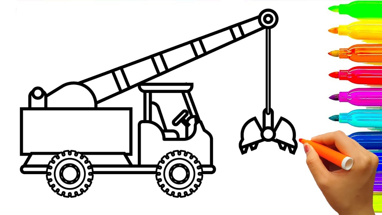1280x720 How To Draw Crane Truck Coloring Pages For Kids, Learn Colors