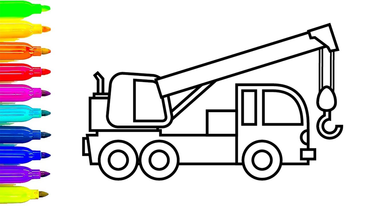 1280x720 Learn Colors With Construction Truck Coloring Pages, Crane Truck