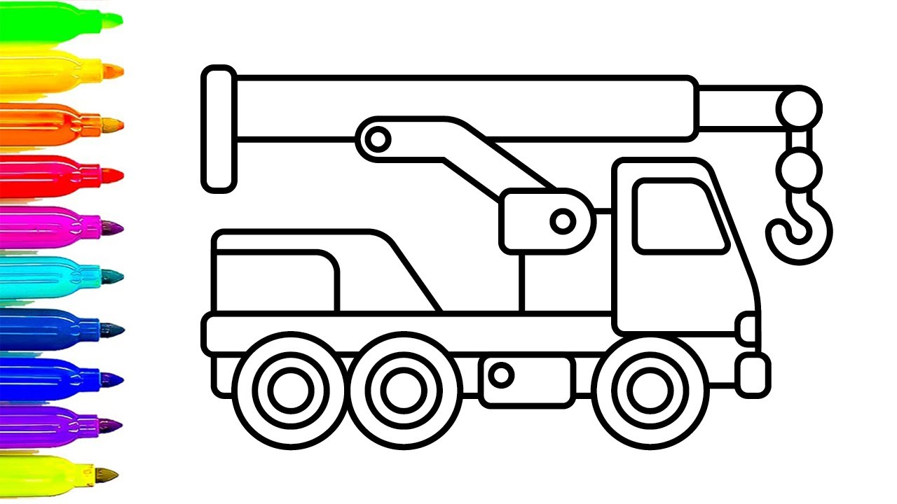 1280x720 Learn Colors With Crane Truck Coloring Pages, Construction Truck