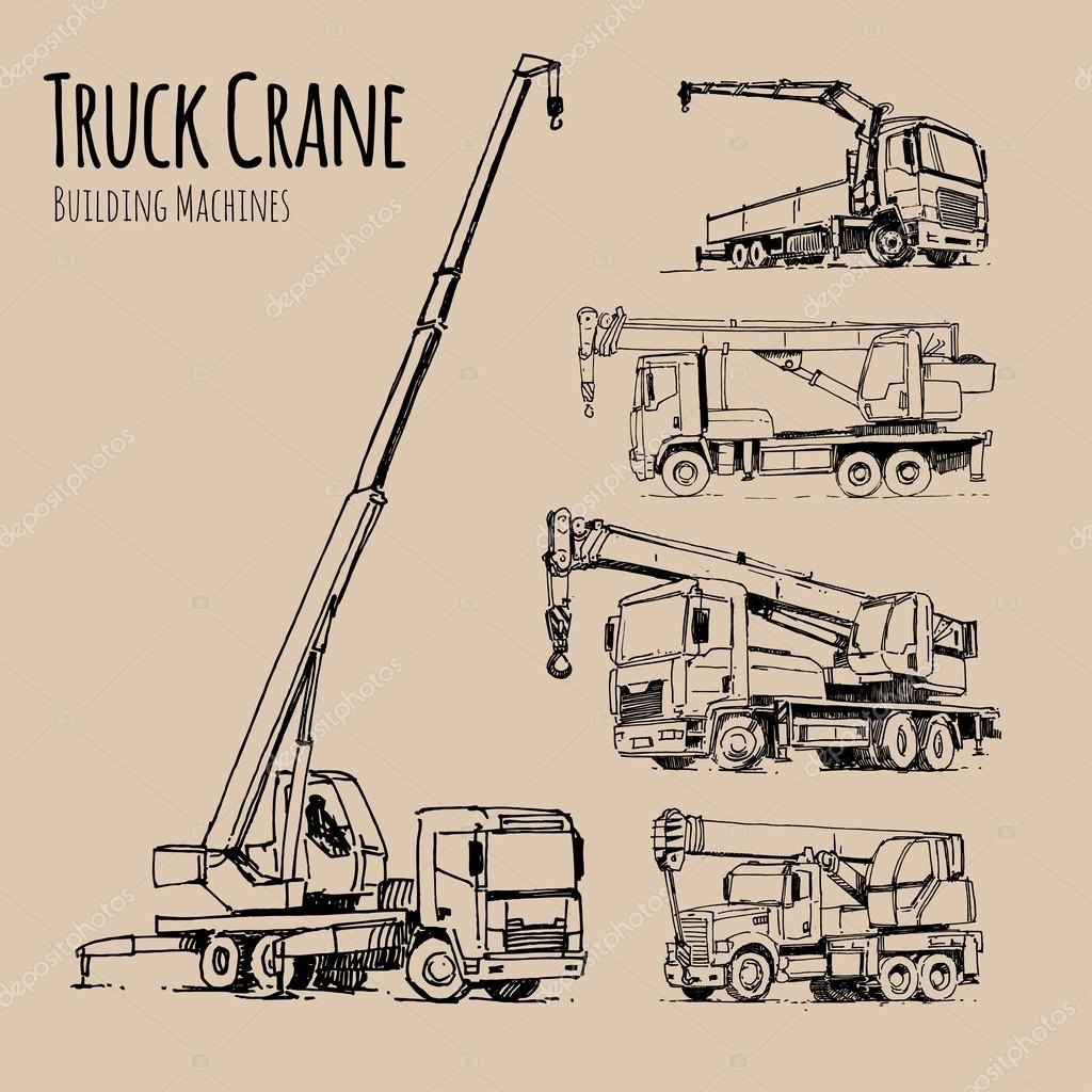 1024x1024 Truck Cranes Set. Hand Drawn Sketch Illustration Stock Photo