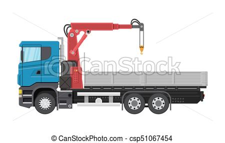 450x286 Truck With Crane And Platform. Cargo Delivery Truck. Vehicle