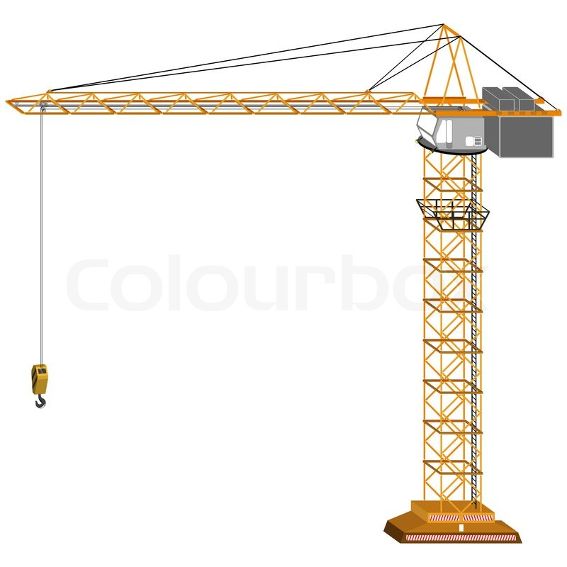 800x800 Tridimensional Crane Drawing, Isolated On White Background
