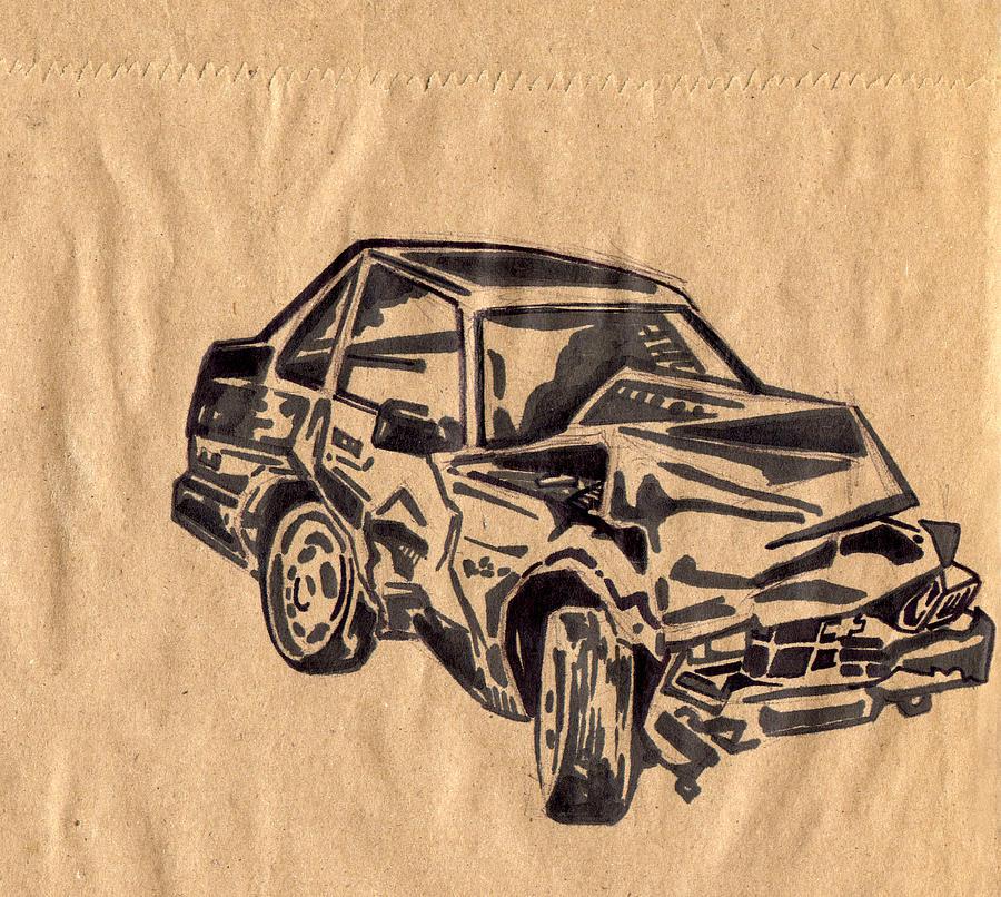 900x806 Crashed Car Drawing By Karl Frey