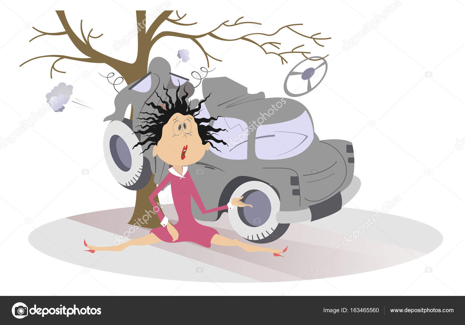 1600x1117 Road Accident, Crashed Car And Young Woman Stock Vector Sotosy
