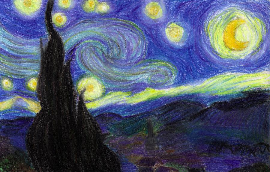 900x574 Crayon Van Gogh By Shaleco