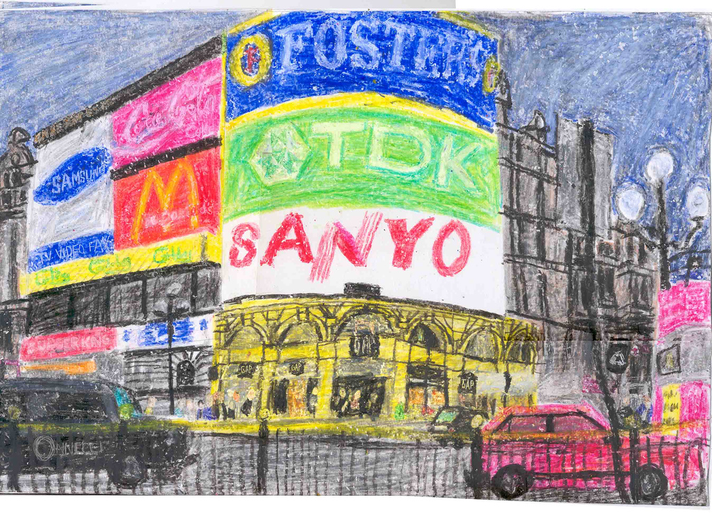 1024x737 Piccadilly Circus Drawn In Crayola Crayons! A Drawing