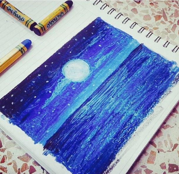 610x593 Art, Beautiful, Beauty, Blue, Cool, Crayola, Crayons, Creative