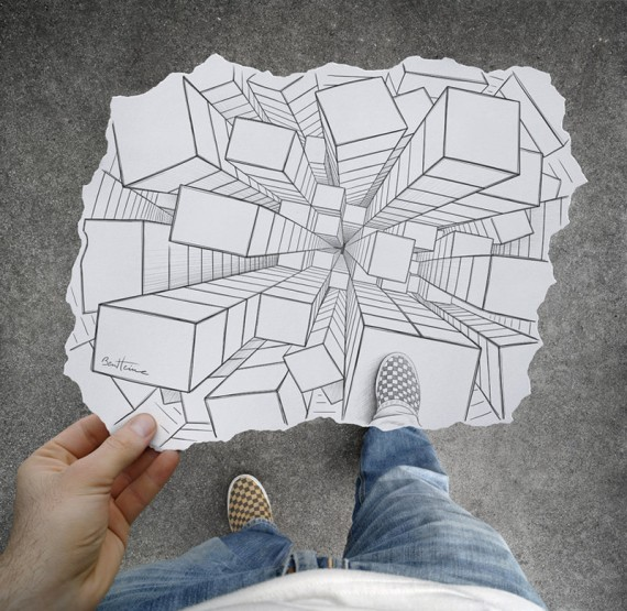 570x555 33 Amazing Creative Drawing Vs Photography By Ben Heine