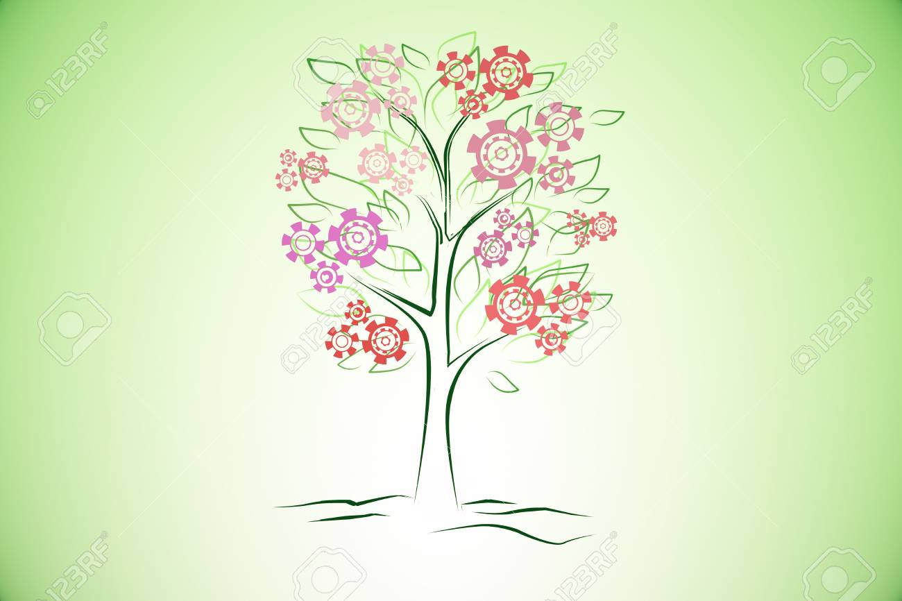 1300x866 Creative Digital Tree Drawing With Abstract Cogwheel Flowers