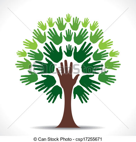 450x470 Green Hand Tree Vector. Creative Go Green Support Hand Tree
