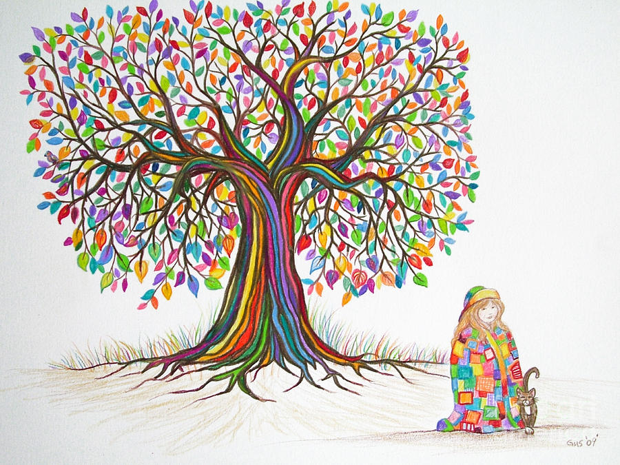 900x675 Drawings Of Trees Rainbow Tree Dreams Drawing By Nick Gustafson