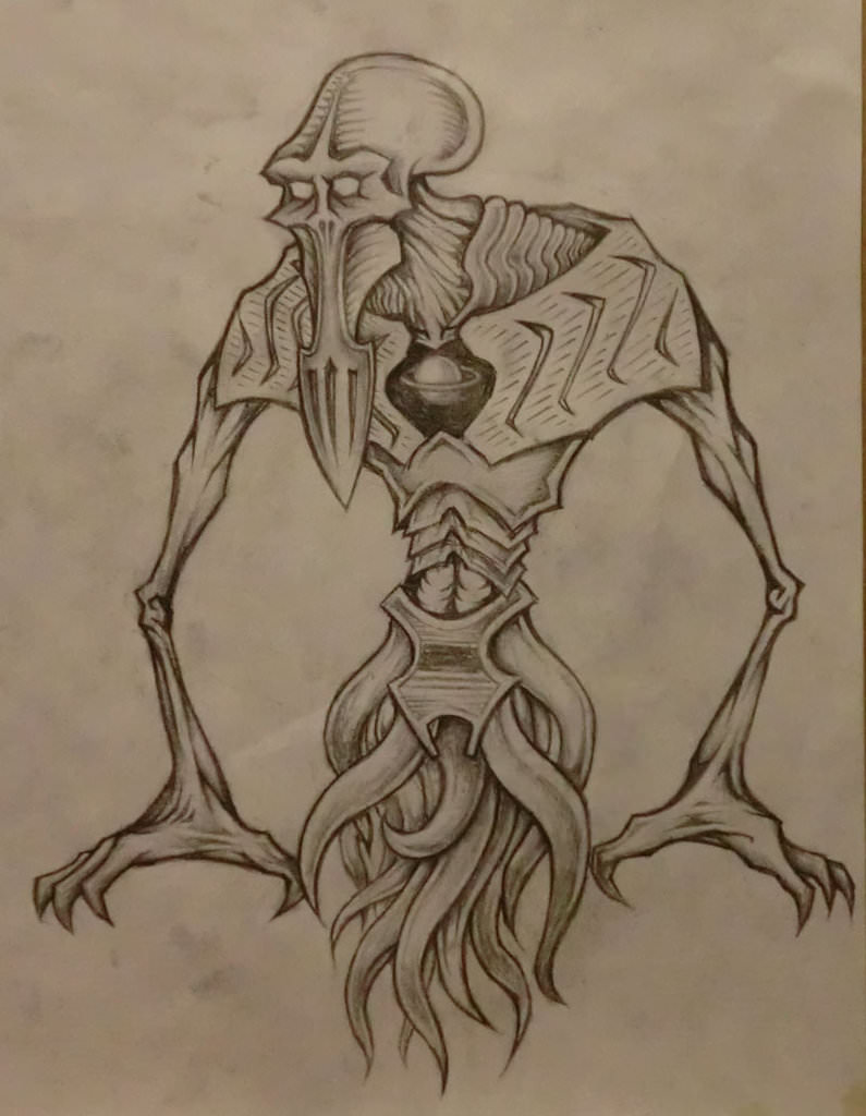 795x1024 Alien Creature With Planet Heart! Drawing By Landon Huber.