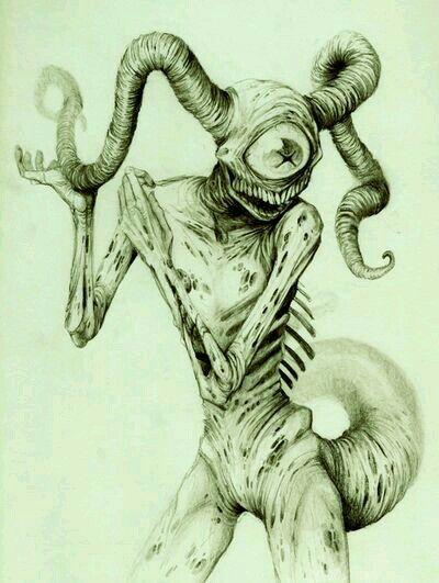 400x531 Fantasy Creature Pencil Drawing Creepy