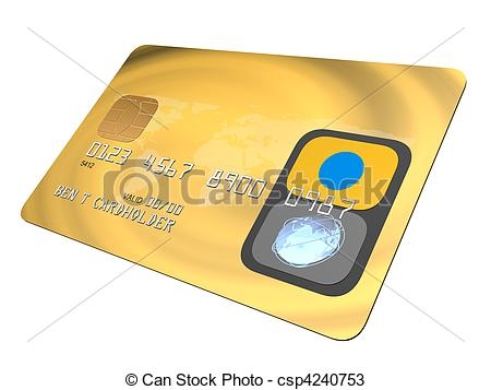 450x357 3d Rendered Illustration Of A Golden Credit Card Drawings