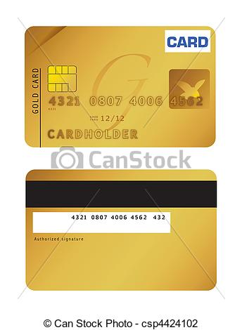 344x470 An Illustration Of A Gold Credit Card. Vector File Available