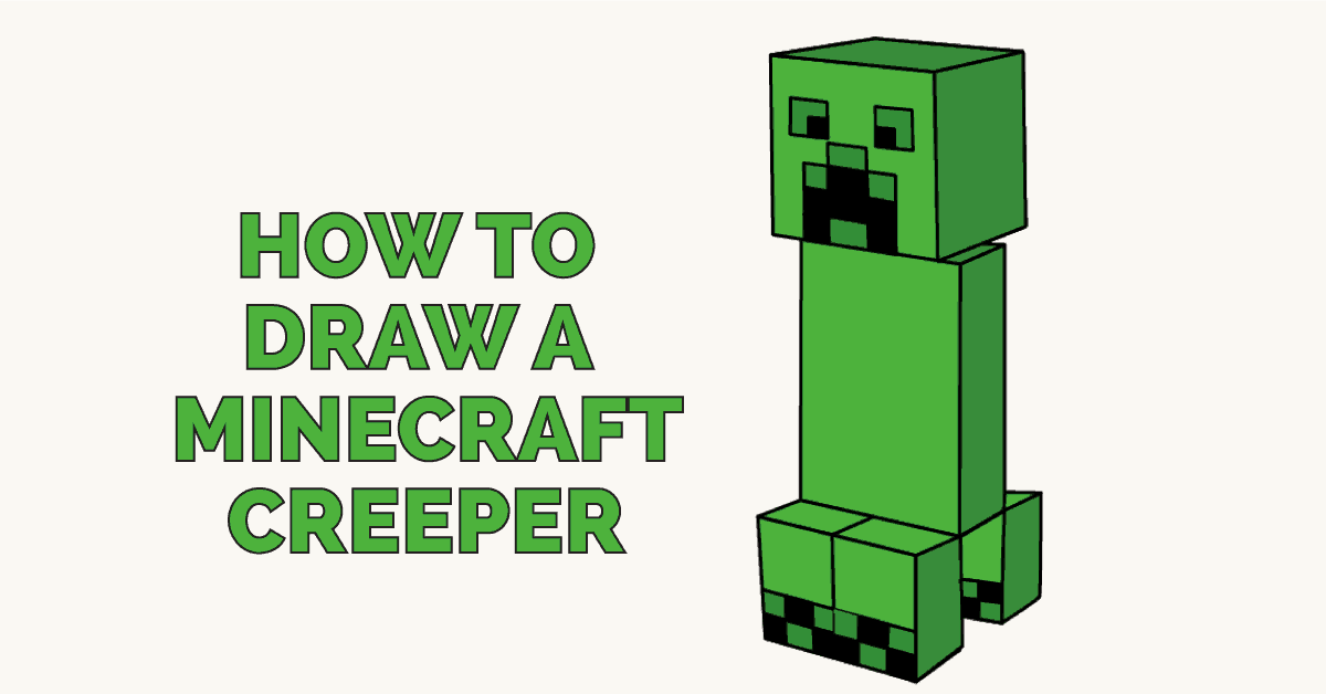 1200x628 How To Draw A Minecraft Creeper Easy Step By Step Drawing Guides