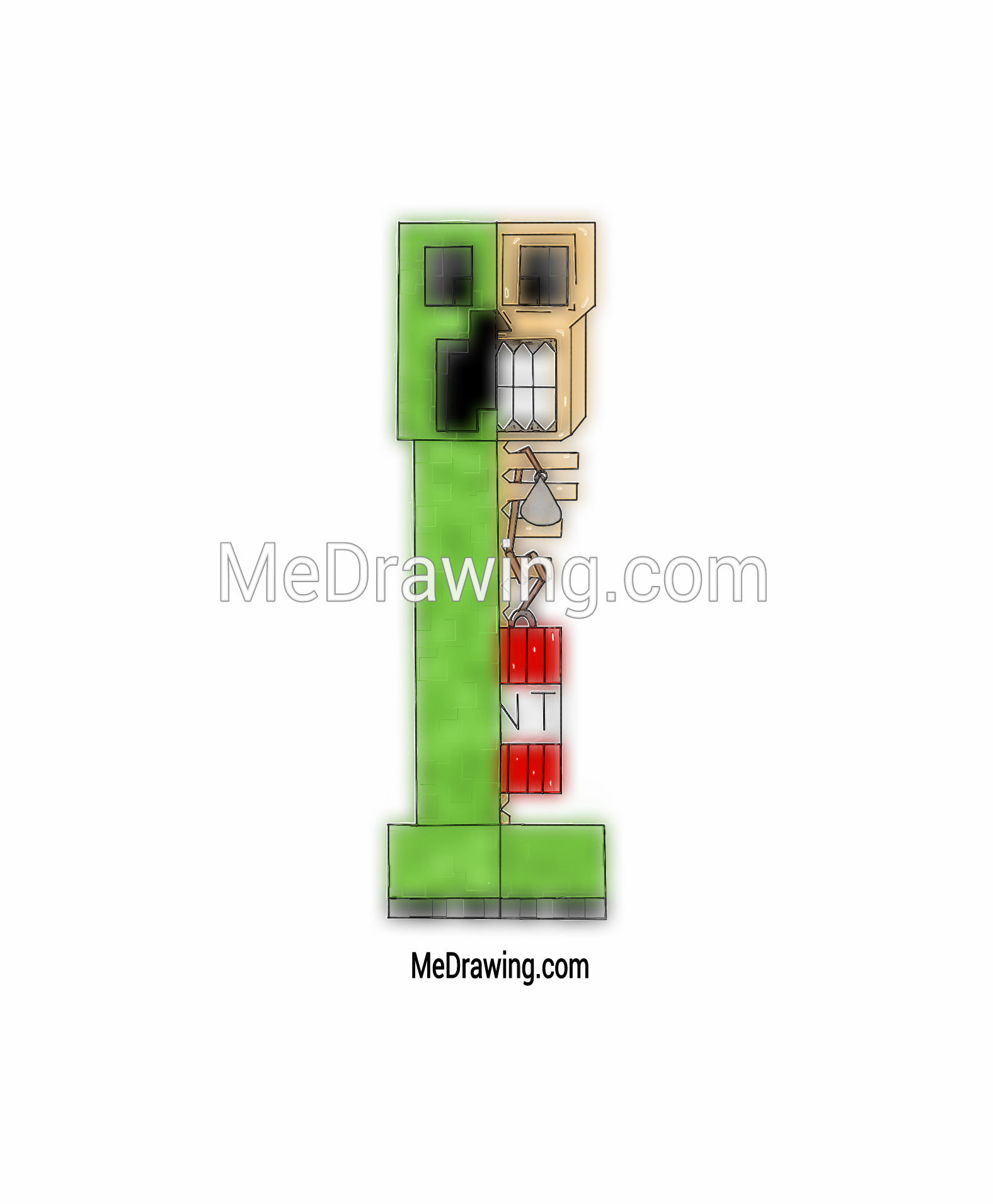 1576x1911 Minecraft Creeper Airbrushed Drawing