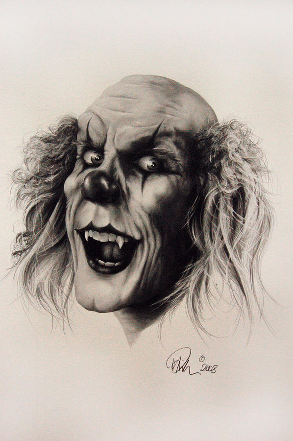 598x900 Very Scary Clowns Evil Clown Drawing By Mario Pichler