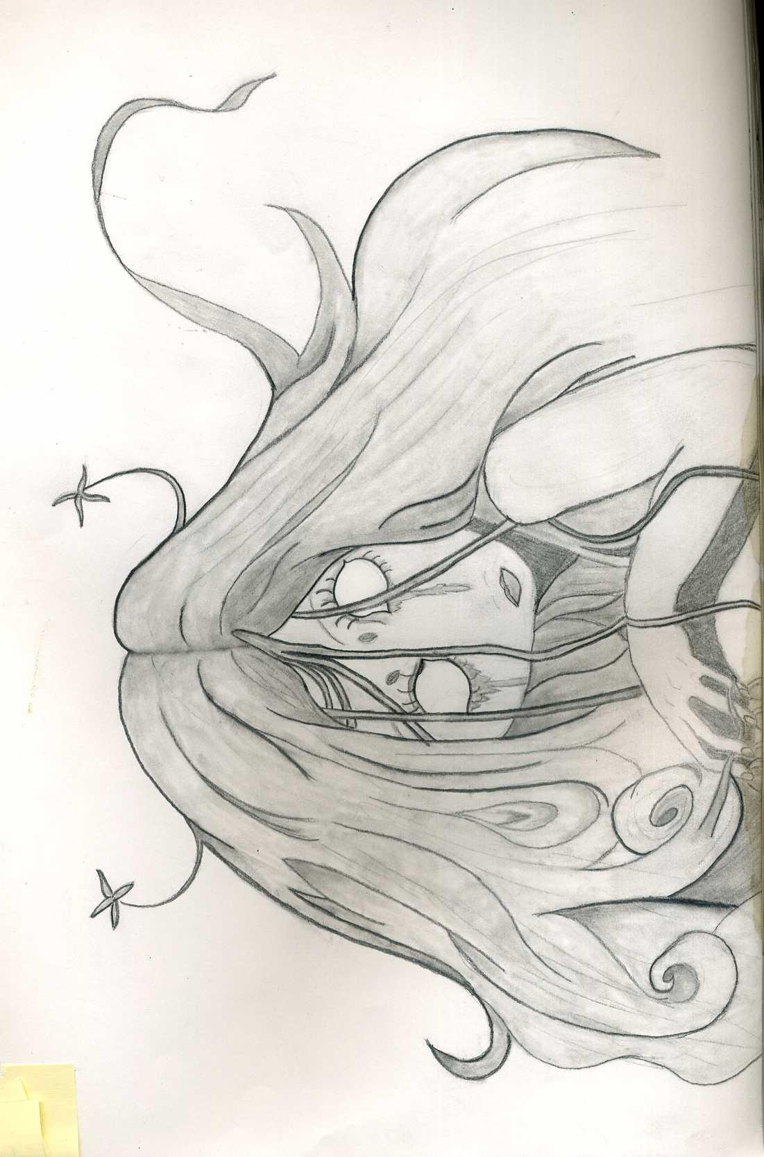 1101x1666 Scary Girl, Long Hair, Creepy, No Eyes, Black And White, Sketch